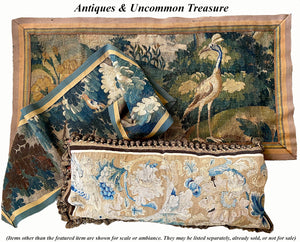 "Antique c.1600s Flemish Verdure Wool Tapestry Panel, Wall Hanging, Pillows, Bird & Trees, 56"" x 18.5"""