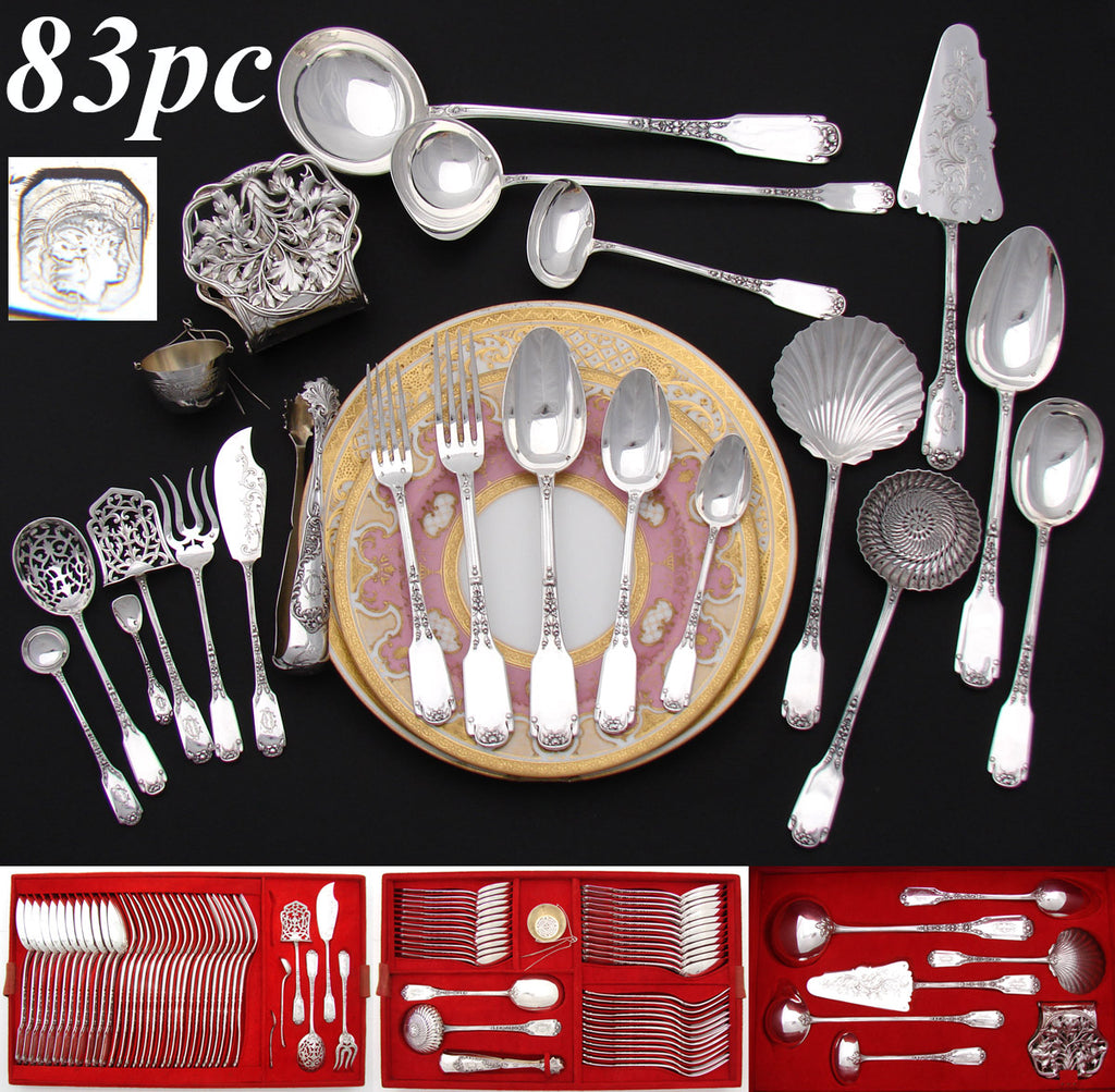 RARE Antique French Sterling Silver 83pc Flatware Set, 5pc for TWELVE, Serving Pieces, Chest
