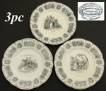 "Set of 3 Antique French Creil Faience 8"" Cabinet Plates, Romanic Themed Figural"