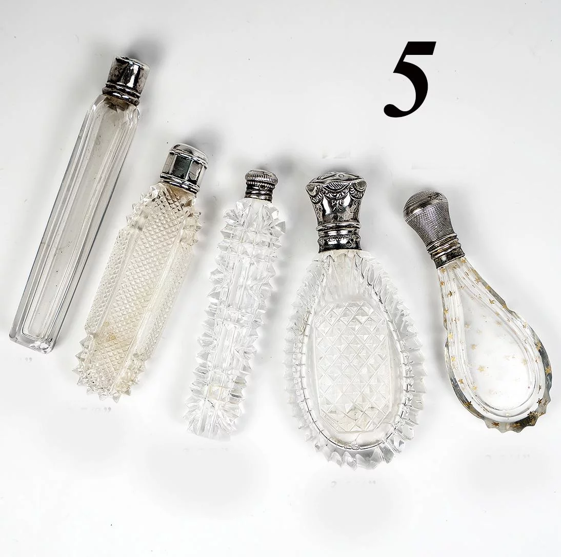 5 Antique French Sterling & Cut Glass Lay down Scent or Perfume Flasks, Bottles