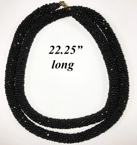 "Antique Edwardian Jet Bead - Braided Black Facet-cut Bead Necklace, 22.25"" Long"