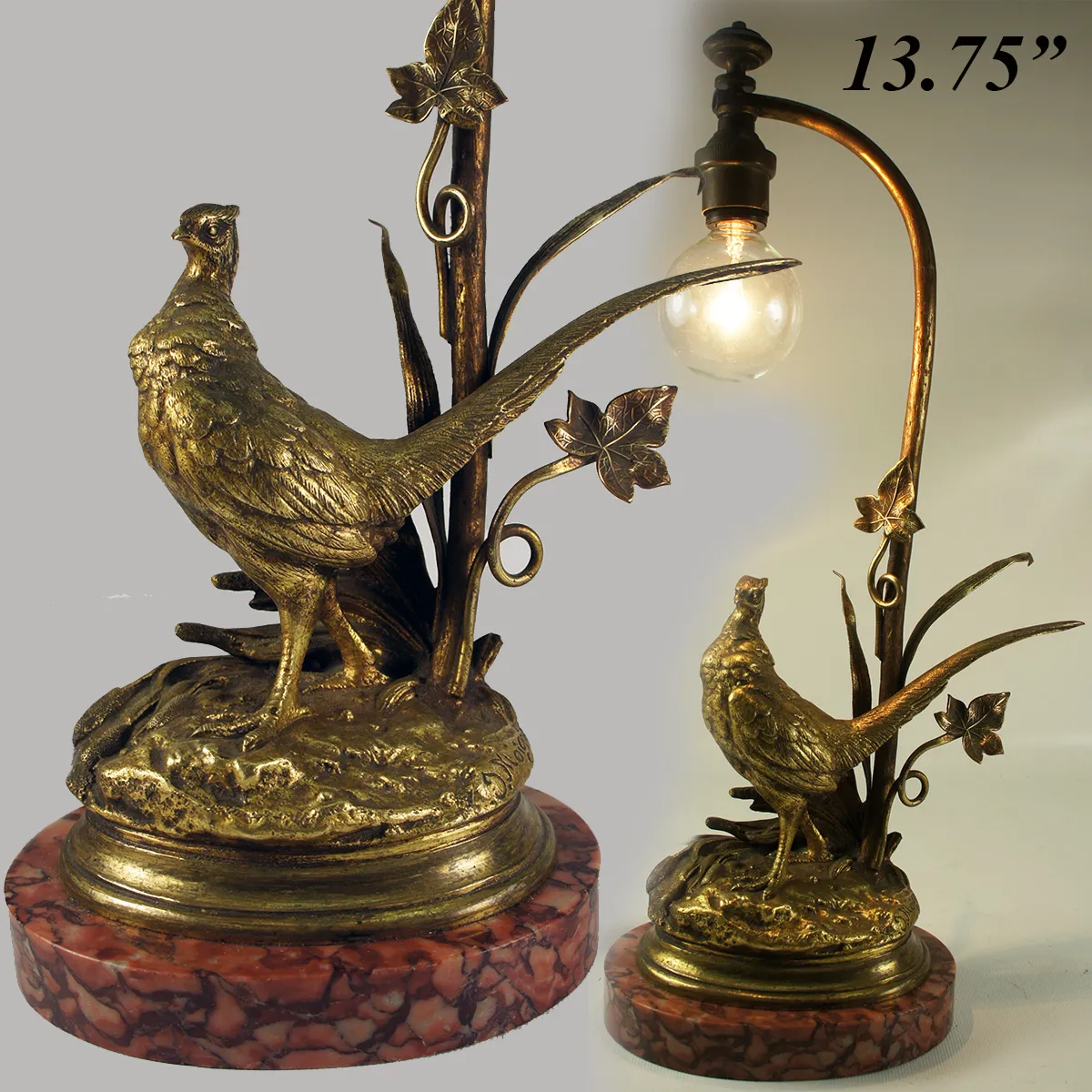 "Antique Dore Bronze Sculpture, Moignez, Marble Plinth, a 14"" Desk or Table Lamp"
