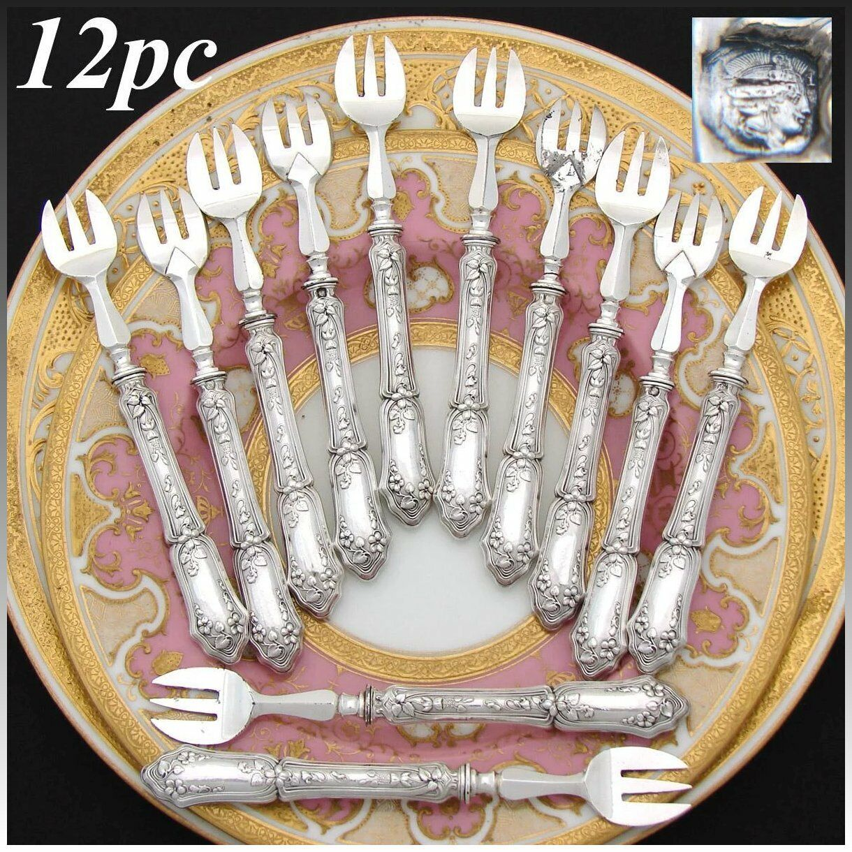 Antique French Sterling Silver Handled 12pc Oyster or Shellfish Fork Set, Floral
