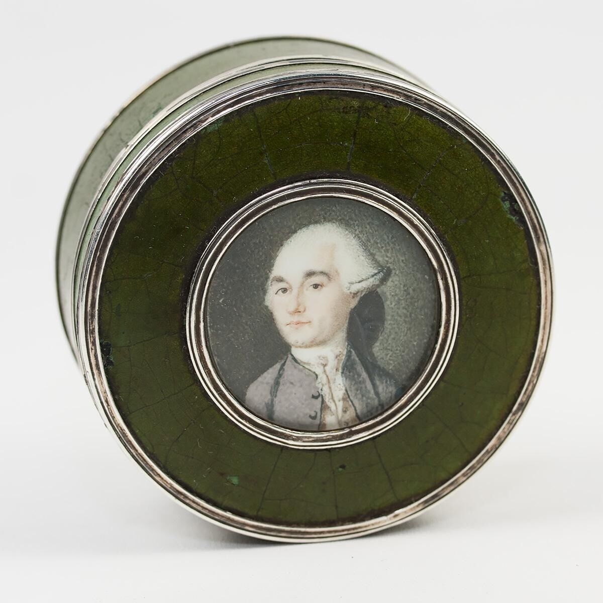 Antique 1700s French Portrait Miniature Snuff or Patch Box, Vernis Martin