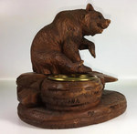 "Antique HC Wood Black Forest Bear, Smoker's Stand or Open Table Salt, 5.5"" Tall"