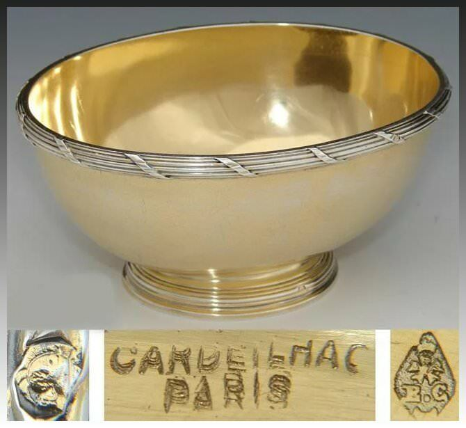 "Antique French Vermeil 18k Gold on Sterling Silver 4.5"" Bonbon or Caviar Dish"