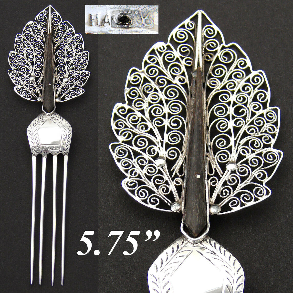 Antique .800 to Sterling Silver Mantilla Style Hair Comb, Filigree Hair Jewelry