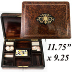 Antique French 19c Boulle & Burled Wood Gaming Box, Chest, Playing Cards & Chips
