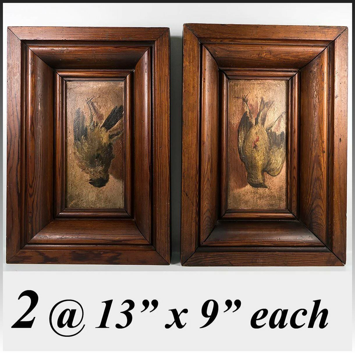 Pair: 2 Antique Oil Paintings on Wood Board, in Frame, Trompe l'Oeil Birds