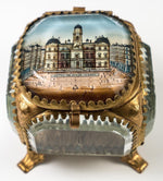 Antique French Eglomise Paris Souvenir Casket, Box, Hotel de Ville, Lyon, France