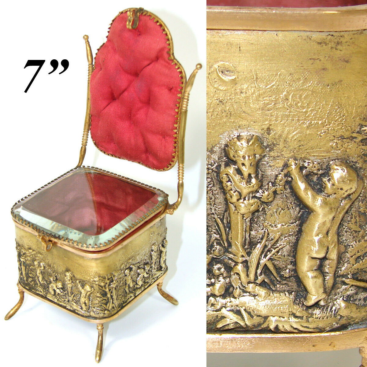 "Antique French 7"" Miniature Chair Shaped Pocket Watch or Pendant Display, Casket"
