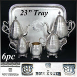 "Rare Antique French Hallmarked SP 6pc Coffee & Tea Set, Service with 23"" Tray"
