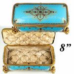 "Superb LRG Antique French Kiln-fired Enamel 8"" Jewelry Box, Casket, Sevres"