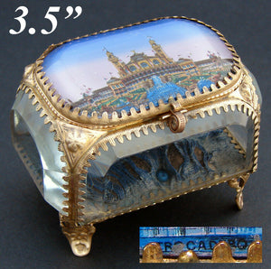 "Antique French Souvenir Jewel Casket, Ormolu & Thick Beveled Glass, ""Trocadero"""