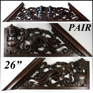 "Antique Victorian Carved 26.5"" Furniture, Architectural Crown PAIR, 53"" Figural"
