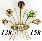Antique Victorian Stick Pin Bouquet, Brooch, 12k to 15k Gold, Pearl, Ruby ++