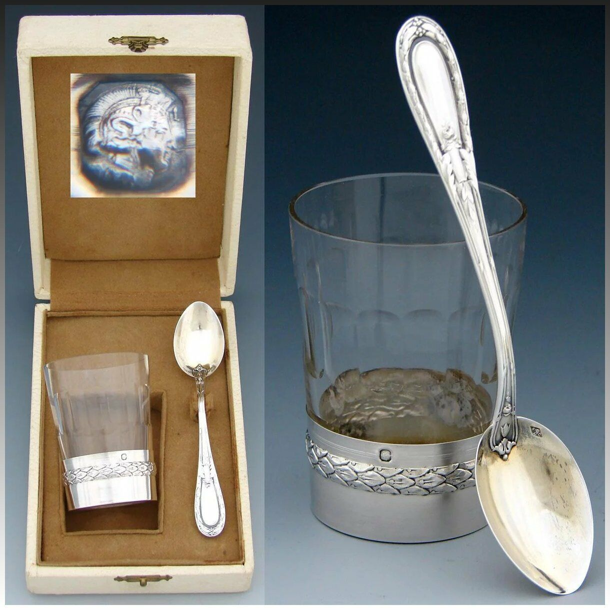 Antique French Sterling Silver & Cut Glass Aperitif Cup & Spoon Set, Orig Box