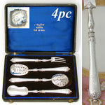 Antique French Sterling Silver 4p Hors d'Oeuvre Implement Set, Guilloche Pattern