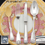 "Antique French PUIFORCAT Sterling SIlver 4pc Christening Flatware Set, ""Arnauld"""