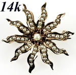 Antique Edwardian 14k Gold Starburst Brooch, Enhancer, Seed Pearls, Mourning