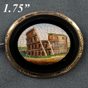 "Antique Victorian Grand Tour Micro Mosaic Brooch, 1.75"", The Coliseum in Rome"