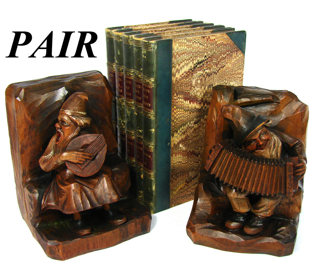 Vintage Black Forest Anri Style Carved Wood Bookends, Musical Figures