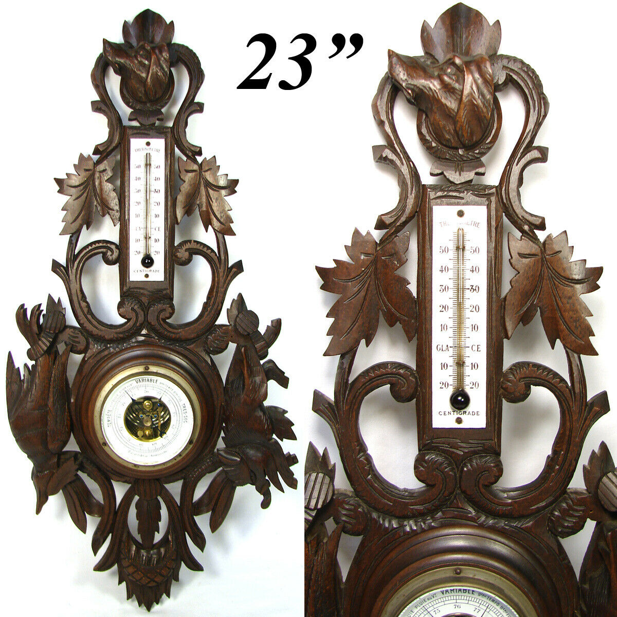 "Antique Edwardian Era Black Forest Carved 23"" Wall Barometer, Dog, Boar & Bird"