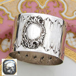 Antique French Sterling Silver Napkin Ring, Louis XVI or Rococo Pattern