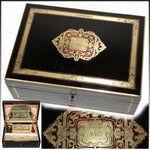 "Opulent Antique French 13"" Traveler's Chest, Box, Casket 1863 Dated Boulle Inlay"
