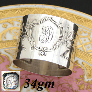 "Antique French Sterling Silver 2"" Napkin Ring, Elegant Louis XVI or Empire"