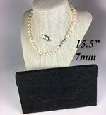 "Vintage MIKIMOTO Pearl Necklace, 7mm, 15.5"" Long Choker, Orig Presentation Pouch"