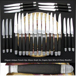 Antique French Napoleon III Era 24pc Dinner Knife Set, Sterling Silver & Ebony