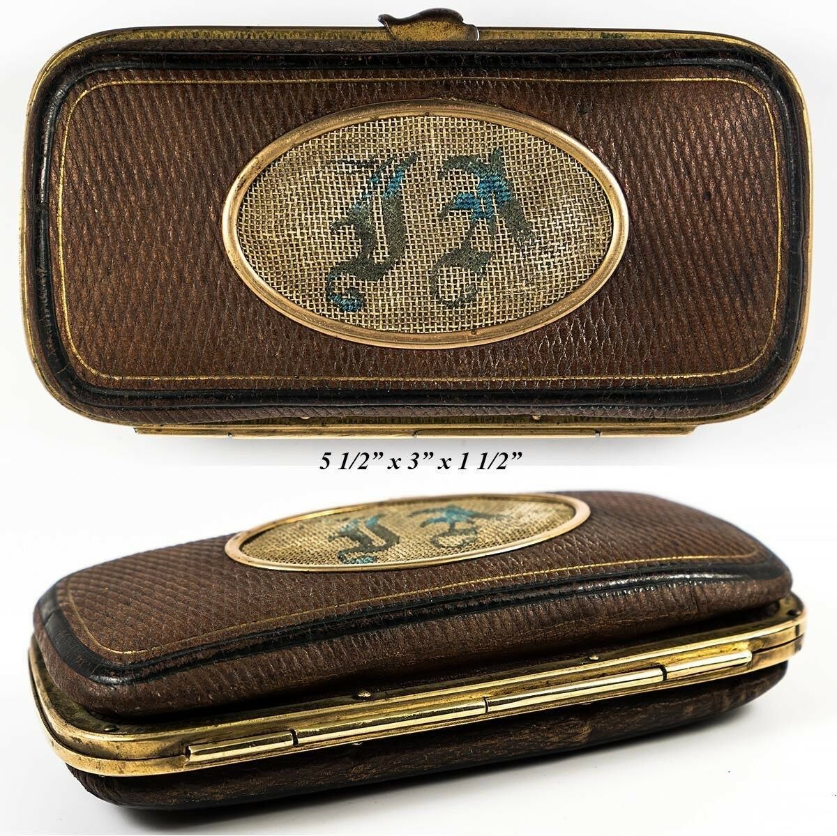 Antique French Embroidered Cigar Case, Spectacles Etui, Gold Embossed Leather