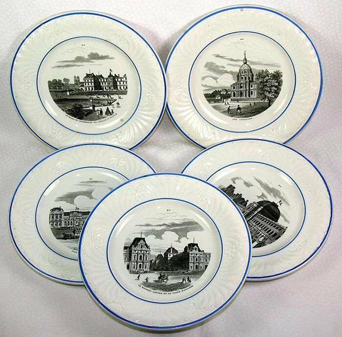 Five Spectacular Antique Plates, GRAND TOUR Scenes of Paris, 1800s Creil