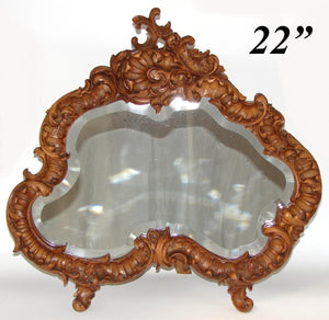 "Gorgeous Vint. 1918 French Carved 22"" Dresser or Boudoir Vanity Mirror, Rococo"