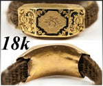 Antique Georgian to Victorian Mourning Ring, 18k Gold, Enameled, Woven Hair
