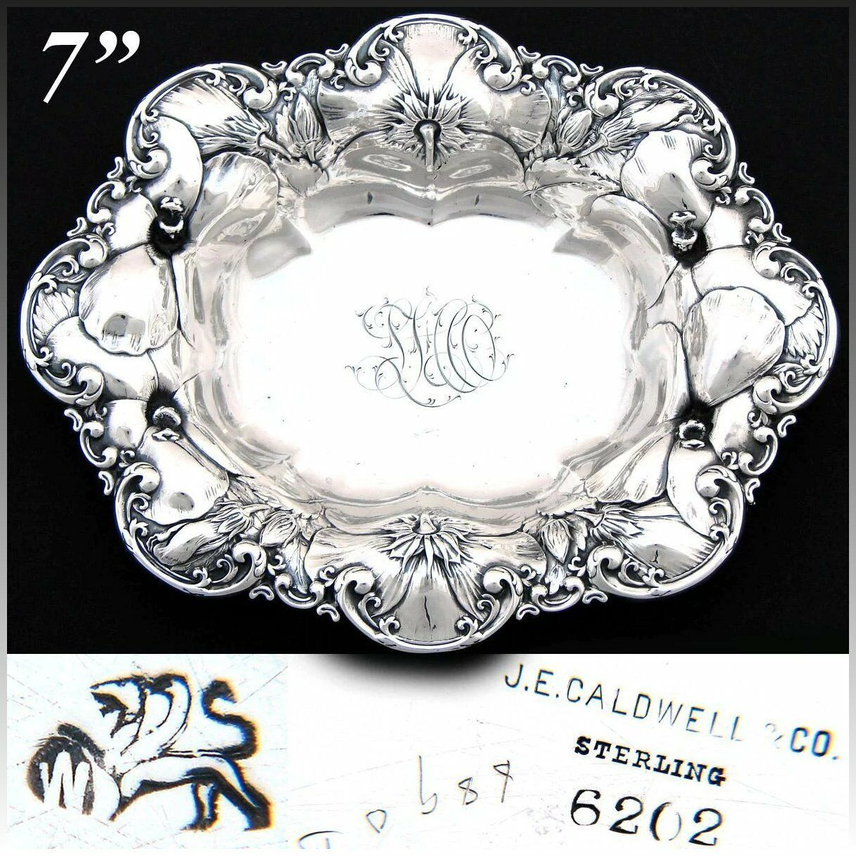 "Antique Whiting Gorham Sterling Silver7"" Bowl, Floral Bas Relief, J.E. Caldwell"