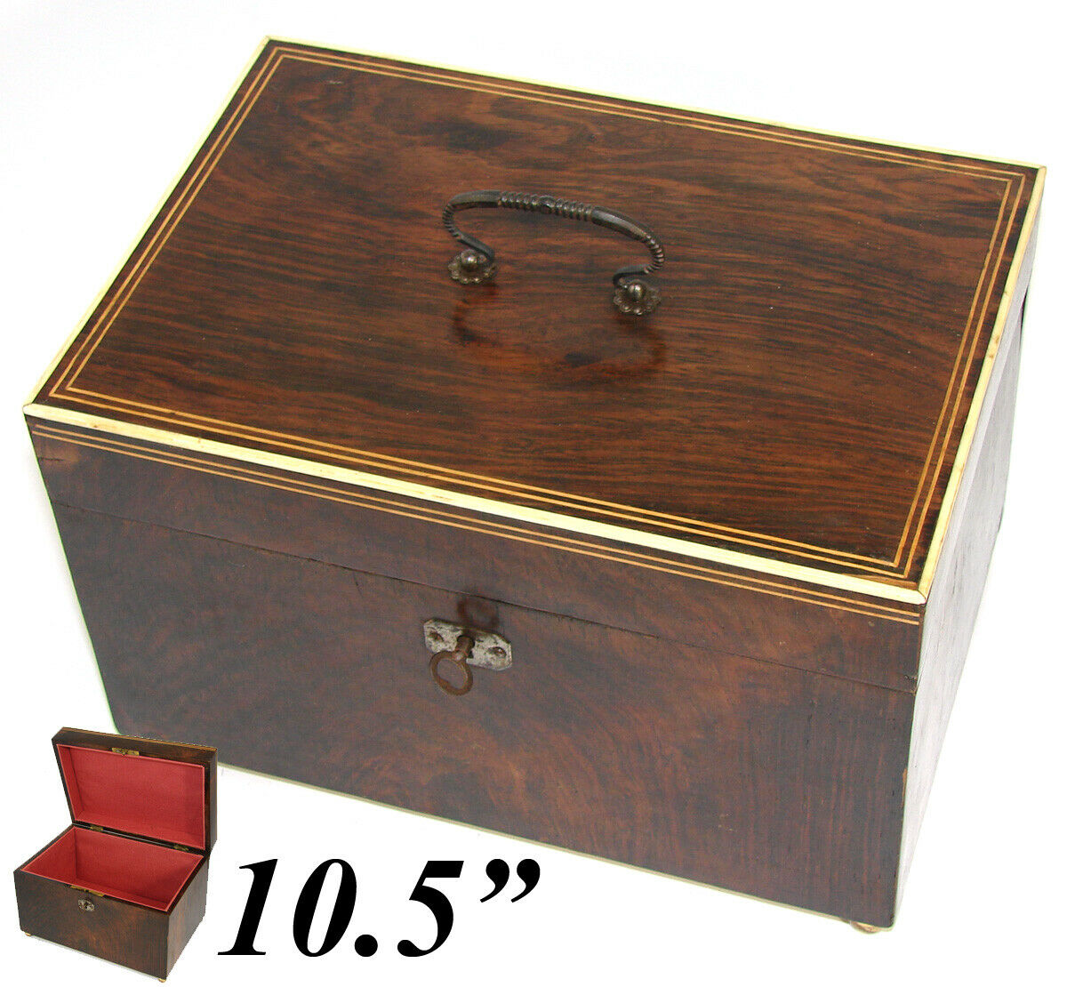 "Antique c. 1820-40 Georgian Era Rosewood 10.5"" Jewelry, Sewing or Work Box"