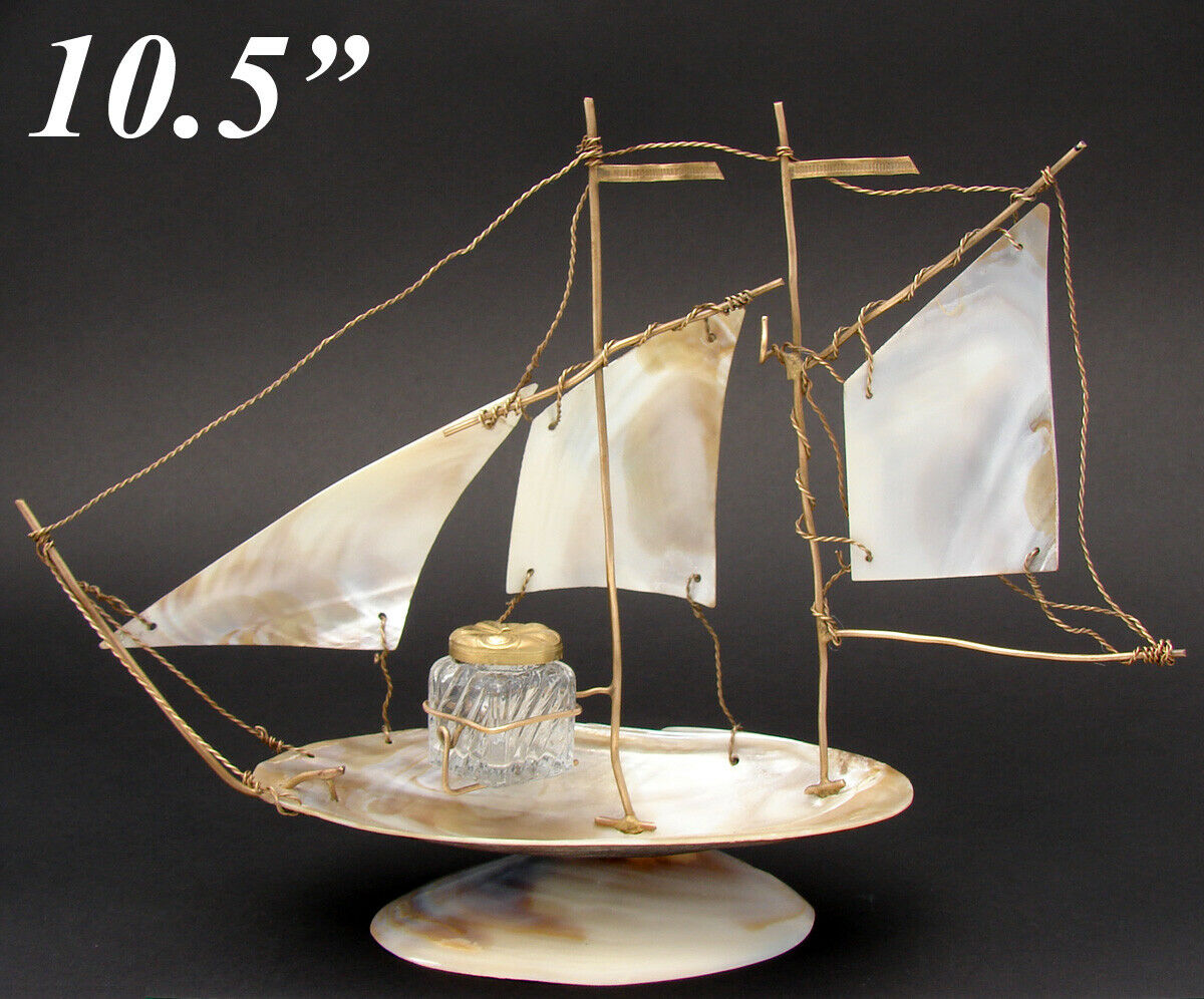 "Antique French Mother of Pearl 10.5"" Sailboat Inkwell and Pocket Watch Display"