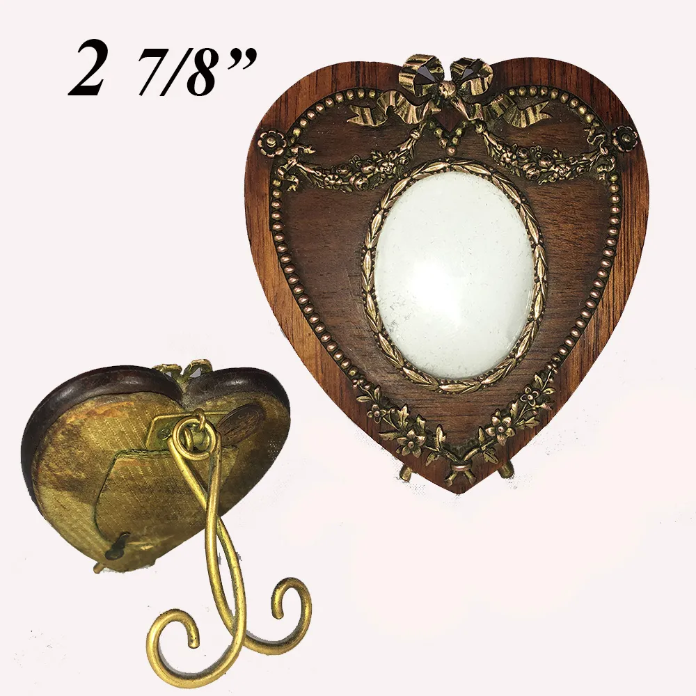 Antique French Gem Frame, A Wooden Heart with Dore Bronze Applique, Easel Stand