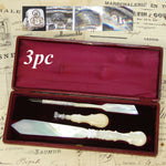 Antique French 3pc Carved Mother of Pearl Writer's Set, Complete: Wax Seal, Pen+
