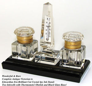 Antique Cut Crystal Double Inkwell & Thermometer Obelisk Set, Black Glass Base