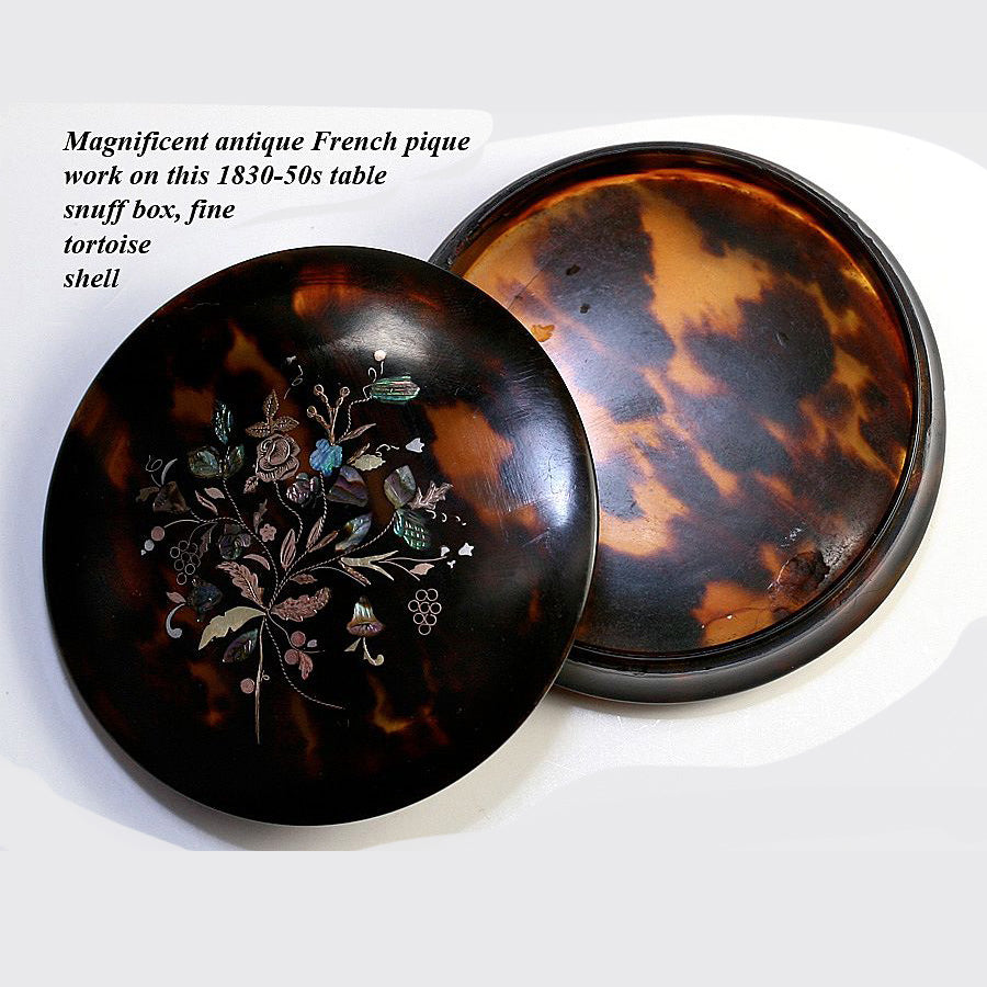 Antique French c.1830-50s Pique Tortoise Shell Snuff or Powder, Patch Box, Shell & Tortoiseshell