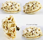 "Antique Victorian Era Carved Ivory Brooch 2"" across, Urn of Flowers, Possibly Dieppe"