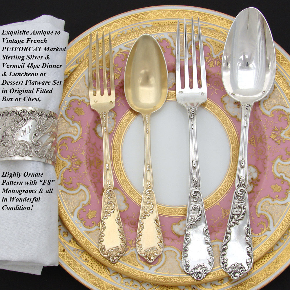 Exquisite Antique French PUIFORCAT Sterling Silver & Vermeil 48pc Flatware Set