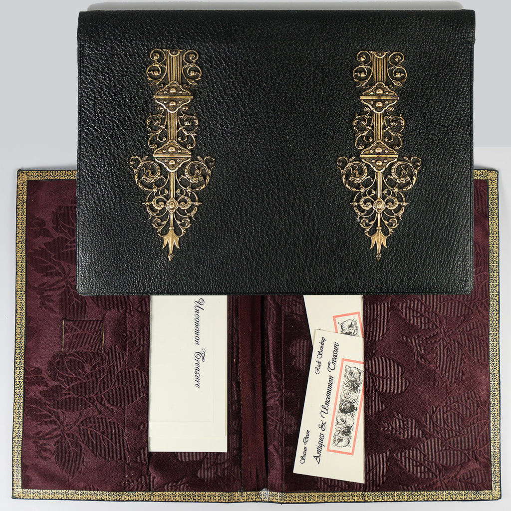 Antique French Stationery Folio, Writer's Leather Card, Note, Envelope Case, c.1880