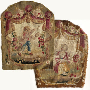 PAIR: Antique Aubusson or Gobelin Wool and Silk Woven Chair Back Panels for Pillow Tops, 1700s.