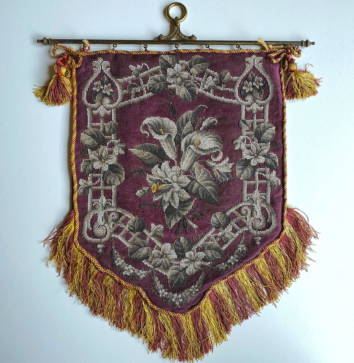 Antique mid-1800s Victorian Beadwork Needlepoint Fire Screen, Bracket and French Fringe, For Pillow Top