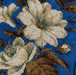 Antique Victorian Era Beadwork Needlepoint Slipper Chair Back Panel, for Pillow Top