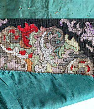 "Superb Antique French Beadwork Screen, 18"" x 16"" in Silk Needlepoint, For Pillow Top"